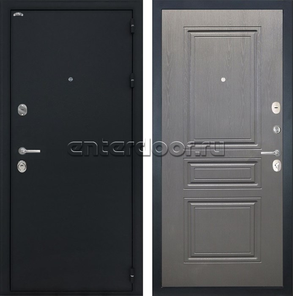 Входная стальная дверь Интекрон Колизей ФЛ-243 (Чёрный шелк / Дуб вуд графит)