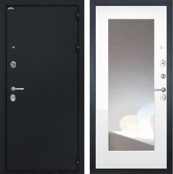 Входная стальная дверь Интекрон Колизей с Зеркалом Max (Чёрный шелк / Белая матовая)