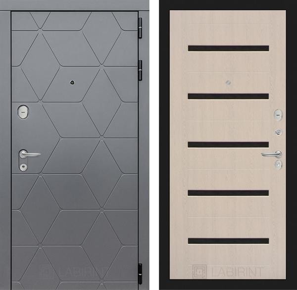 Входная металлическая дверь Лабиринт Cosmo 1 (Графит / Дуб белёный)