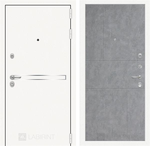 Входная металлическая дверь Лабиринт Line White 21 (Шагрень белая / Бетон светлый)