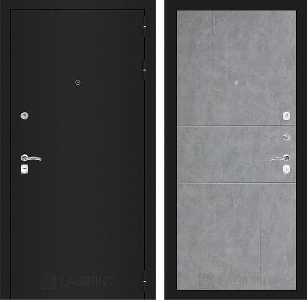 Входная металлическая дверь Лабиринт Классик 21 (Шагрень черная / Бетон светлый)