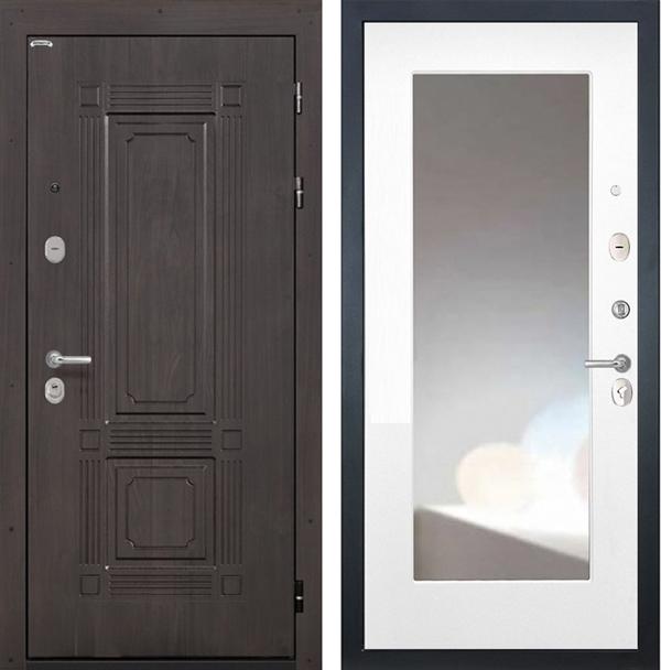 Входная металлическая дверь Интекрон Италия с Зеркалом (Венге / Белая матовая)