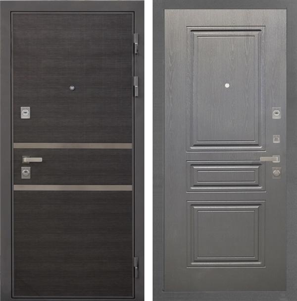 Входная металлическая дверь Интекрон Неаполь ФЛ-243-М (Лен Сильвер / Дуб вуд графит)