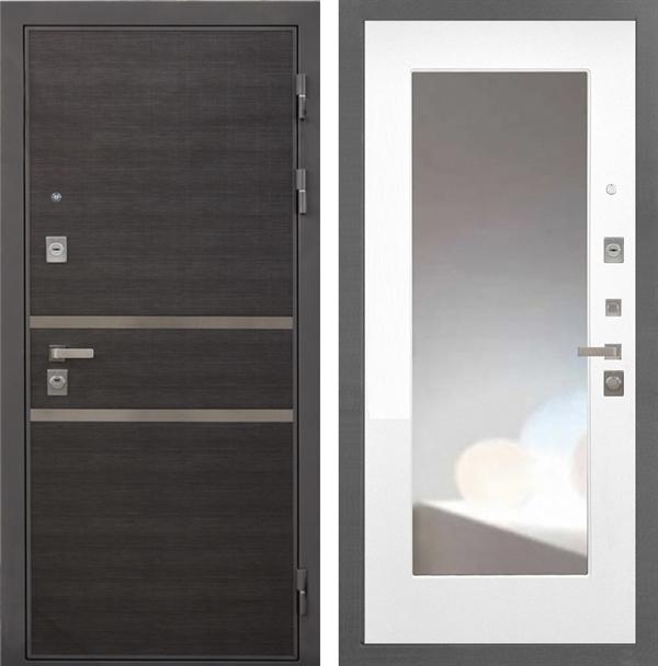 Входная металлическая дверь Интекрон Неаполь с Зеркалом (Лен Сильвер / Белая матовая)
