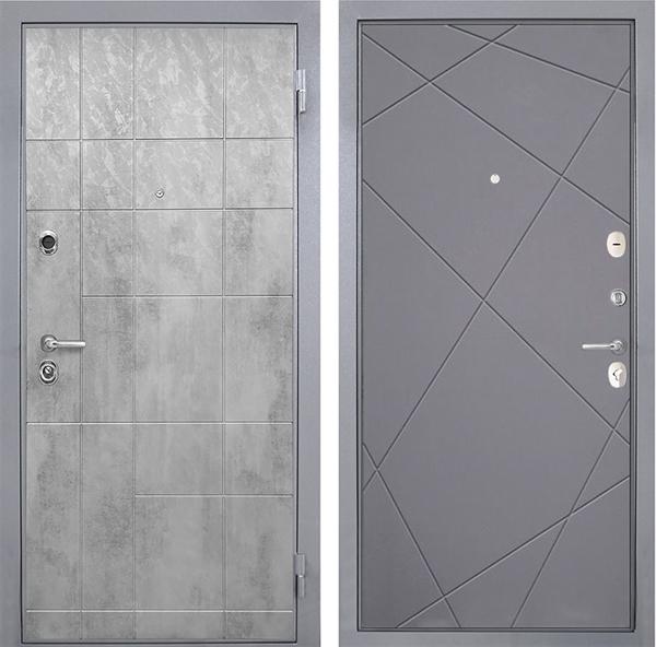 Входная металлическая дверь Интекрон Спарта Грей Лучи-М (Бетон темный / Софт Графит)
