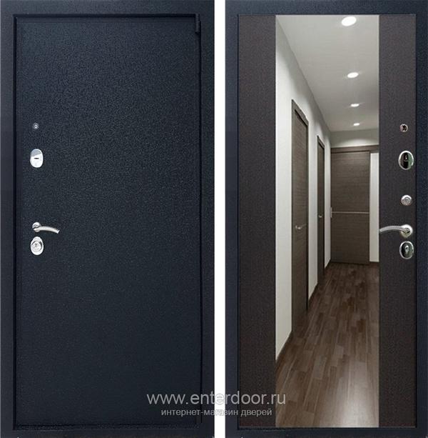 Входная металлическая дверь Армада 3 с Зеркалом СБ-16 (Черный крокодил / Венге)