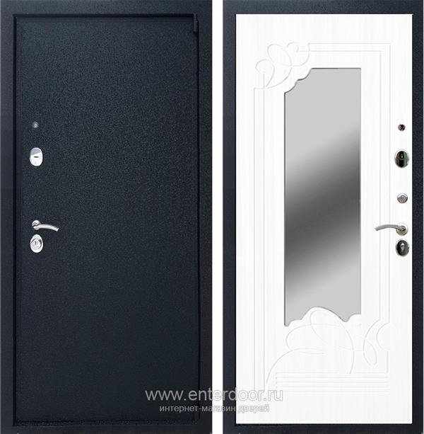 Входная металлическая дверь Армада 3 с Зеркалом ФЛЗ-147 (Чёрный крокодил / Белый ясень)