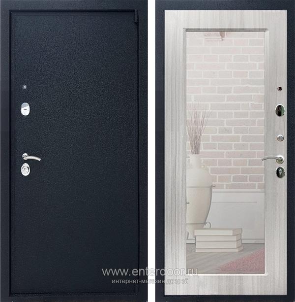 Входная металлическая дверь Армада 3 с Зеркалом Пастораль (Черный крокодил / Сандал белый)
