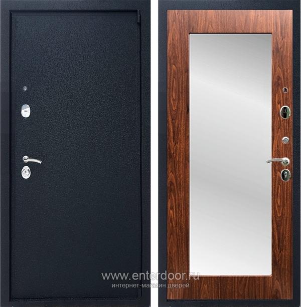 Входная металлическая дверь Армада 3 с Зеркалом Пастораль (Черный крокодил / Берёза морёная)