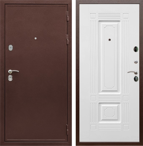 Входная металлическая дверь Сенатор Практик 3К ФЛ-2 (Медный антик / Белый матовый)