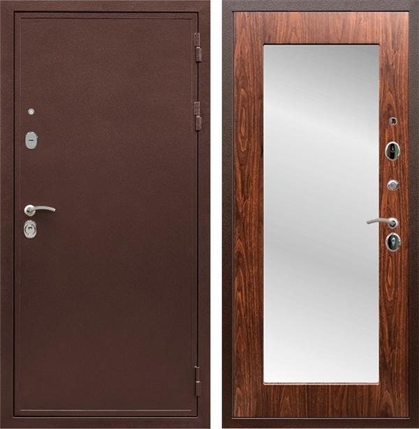 Входная металлическая дверь Сенатор Практик 3К Зеркало Оптима (Медный антик / Берёза морёная)