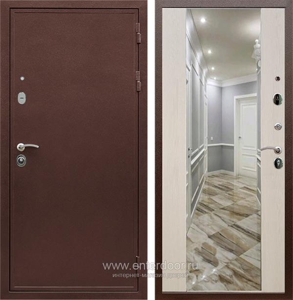 Входная металлическая дверь Сенатор Практик 3К Зеркало Максимум (Медный антик / Лиственница беж)