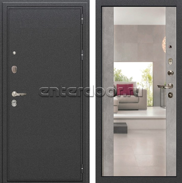Входная металлическая дверь Лекс Колизей с Зеркалом Бетон серый (панель №102)