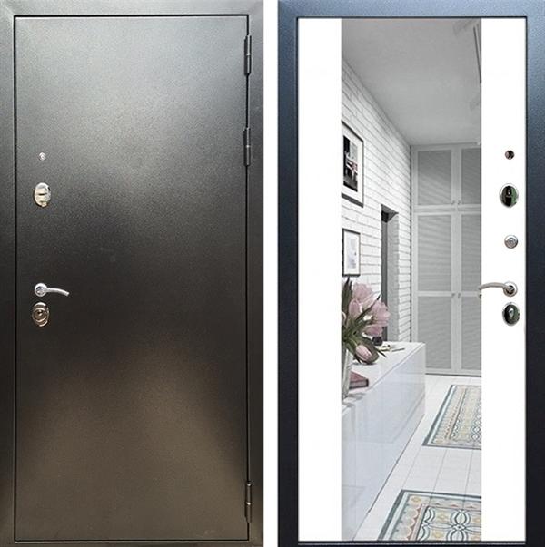 Входная металлическая дверь Сенатор Практик 3К Зеркало Максимум (Антик серебро / Белый матовый)