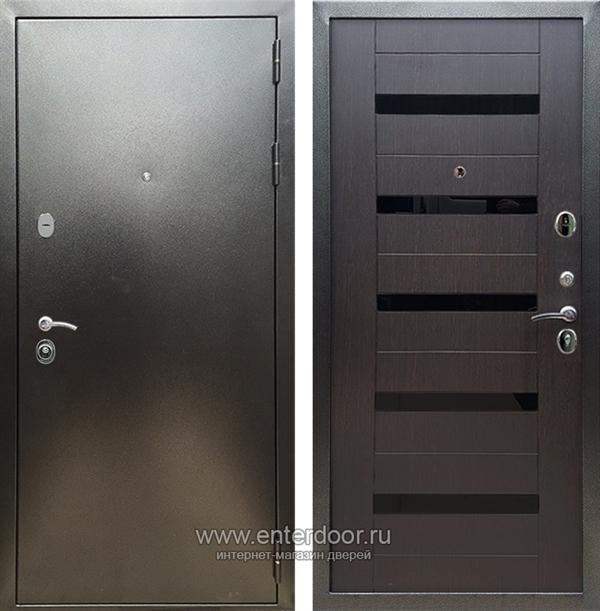 Входная металлическая дверь Сенатор Практик 3К СБ-14 (Антик серебро / Венге) стекло черное