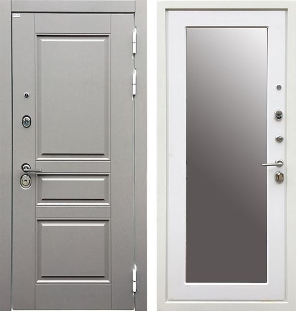 Входная металлическая дверь Ратибор Лондон 3К Зеркало (Грей софт / Силк сноу)