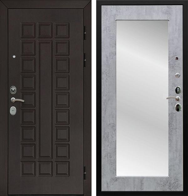 Входная металлическая дверь Армада Сенатор Cisa с Зеркалом Пастораль (Венге / Бетон тёмный)