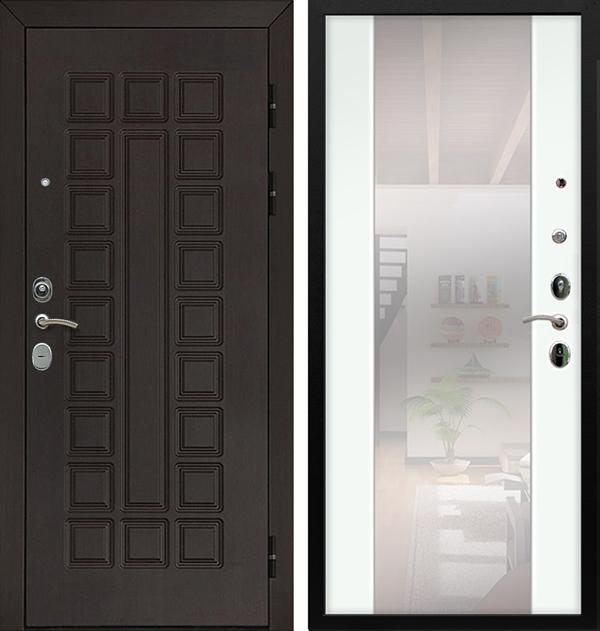 Входная металлическая дверь Армада Сенатор Cisa с Зеркалом СБ-16 (Венге / Ясень белый)