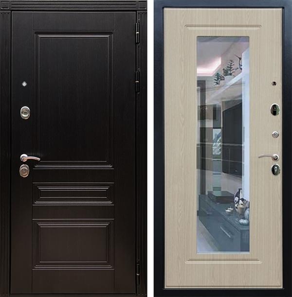 Входная металлическая дверь Армада 17 Мегаполис с Зеркалом (Венге / Белёный дуб)