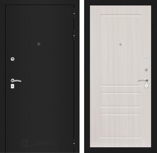 Входная металлическая дверь Лабиринт Классик 3 (Шагрень черная / Сандал белый)