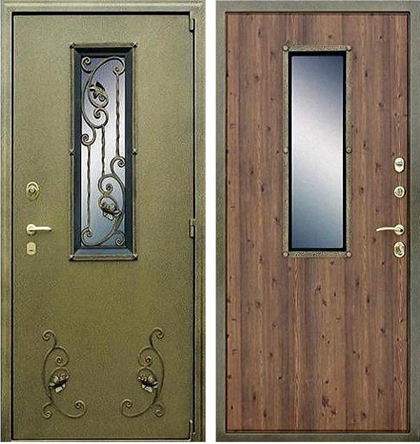 Входная уличная металлическая дверь с окном и ковкой. Вид снаружи и внутри