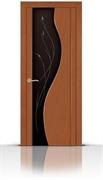 Межкомнатная дверь Корунд со стеклом (Темный анегри, Шпон)