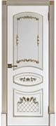 Межкомнатная дверь Алина-2 ДО Эмаль белая с золотой патиной (Шпон)