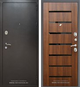 Входная металлическая дверь Армада Титан (Антик серебро / Орех бренди). Вид снаружи и внутри.