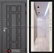 Входная металлическая дверь Лабиринт Нью-Йорк с зеркалом Максимум (Сандал белый)