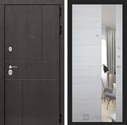 Входная дверь Лабиринт Урбан с Зеркалом (Дуб горький шоколад / Акация светлая горизонтальная)