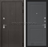 Входная металлическая дверь Лабиринт Урбан 11 (Дуб горький шоколад / Графит софт)