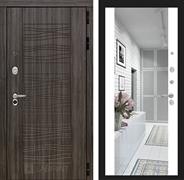 Входная металлическая дверь Лабиринт Сканди с Зеркалом (Дарк Грей / Белый софт)