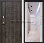 Входная дверь Лабиринт Сканди с Зеркалом Максимум (Дарк Грей / Сандал белый)