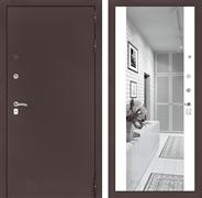 Входная дверь Лабиринт Классик с Зеркалом Максимум (Антик медный / Белый софт)