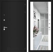 Входная дверь Лабиринт Классик с Зеркалом Максимум (Шагрень черная /  Белый софт)