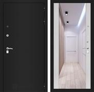 Входная дверь Лабиринт Классик с Зеркалом Максимум (Шагрень черная /  Сандал белый)