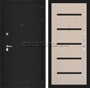 Входная металлическая дверь Лабиринт Классик 1 (Шагрень черная / Дуб белёный)
