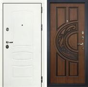 Входная дверь Лекс Сенатор 3К Шагрень белая (№27 Голден патина черная)