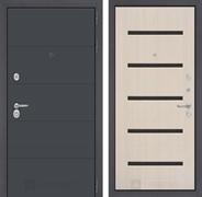 Входная металлическая дверь Лабиринт Арт 1 (Графит софт / Дуб беленый)