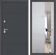 Входная дверь Лабиринт Арт с Зеркалом (Графит софт / Акация светлая)