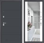 Входная дверь Лабиринт Арт с Зеркалом Максимум (Графит софт / Белый софт)