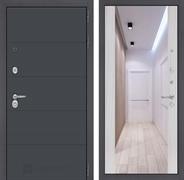Входная дверь Лабиринт Арт с Зеркалом Максимум (Графит софт / Сандал белый)