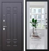 Входная металлическая дверь АСД Виват с Зеркалом Максимум (Дуб фактурный горький шоколад / Сосна белая)