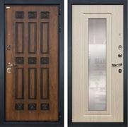 Входная металлическая дверь Лекс Гладиатор 3К Винорит с Зеркалом Белёный дуб (панель №23)