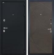 Входная металлическая дверь Интекрон Греция Лучи-М (Чёрный шелк / Венге распил кофе)