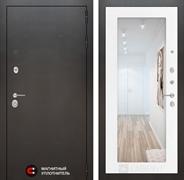 Входная металлическая дверь Лабиринт Сильвер с Зеркалом 18 Белое дерево (Белое дерево)