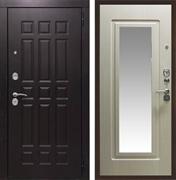 Входная металлическая дверь Кватро с Зеркалом (Венге / Дуб беленый)