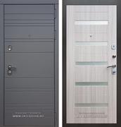 Входная металлическая дверь Армада 14 СБ-14 (Графит софт / Сандал белый) вставки белое стекло