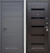 Входная металлическая дверь Армада 14 СБ-14 (Графит софт / Венге) вставки черного стекла