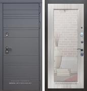 Входная дверь Армада 14 с Зеркалом Пастораль (Графит софт / Сандал белый)